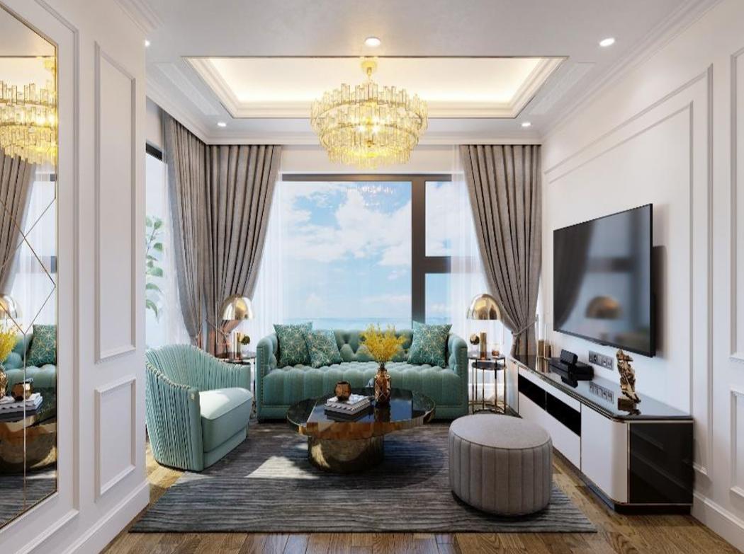 thiết kế phòng khách chung cư Green diamond Hạ Long
